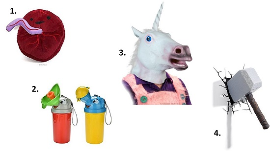 Bizarre junk you can buy the kids online, like a unicorn head or a stuffed placenta - things they need like a really FUN hole in the head